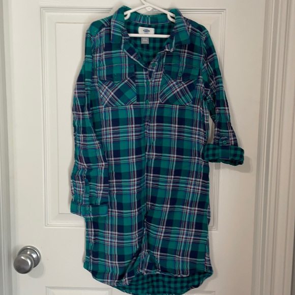 Old Navy plaid button up shirt dress, tab sleeves